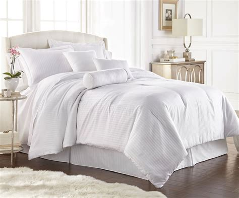 queen white comforter set chezmoi collection 7 hotel solid dobby stripe comforter set white ebay