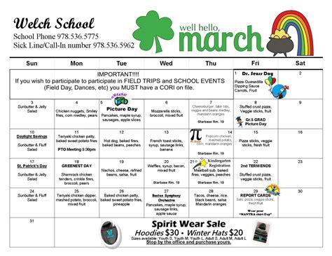 welch school march calendar peabody public schools