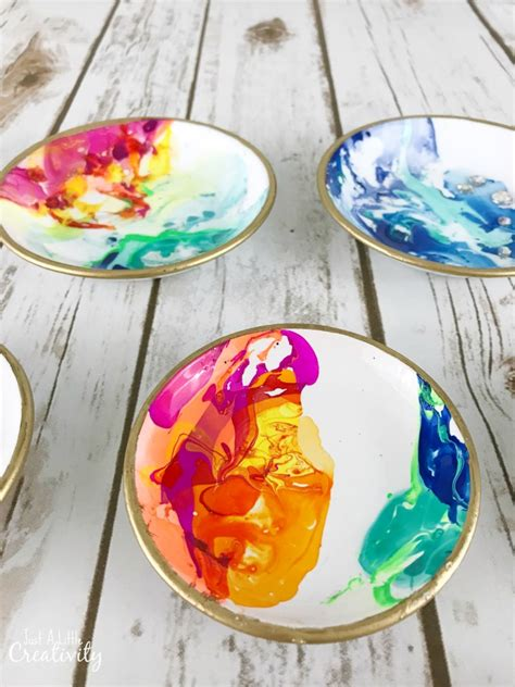 diy marbled ring dishes    creativity