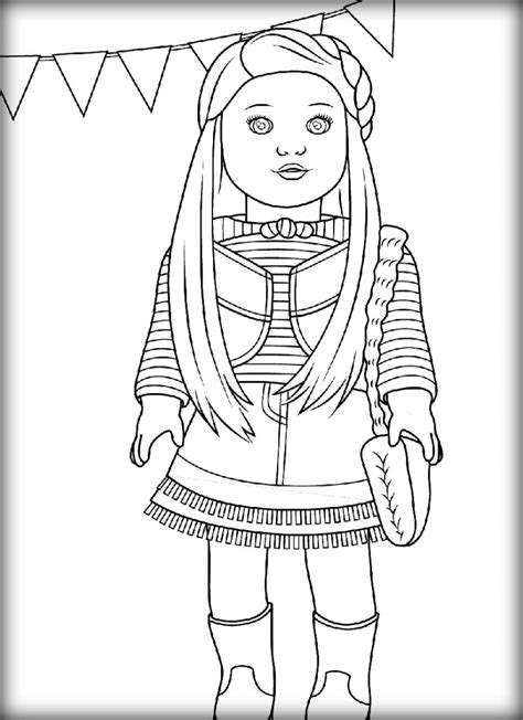coloring doll american doll coloring pages color zini