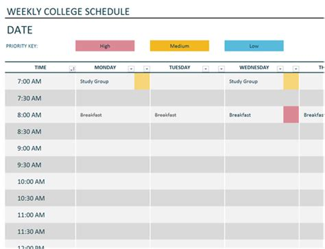 Schedule Template by Weekly College Schedule