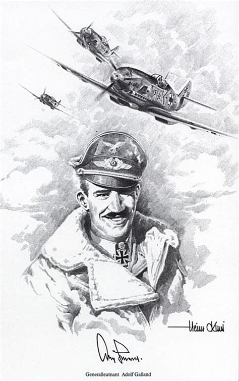 aviation art krebs heinz adolf galland portrait