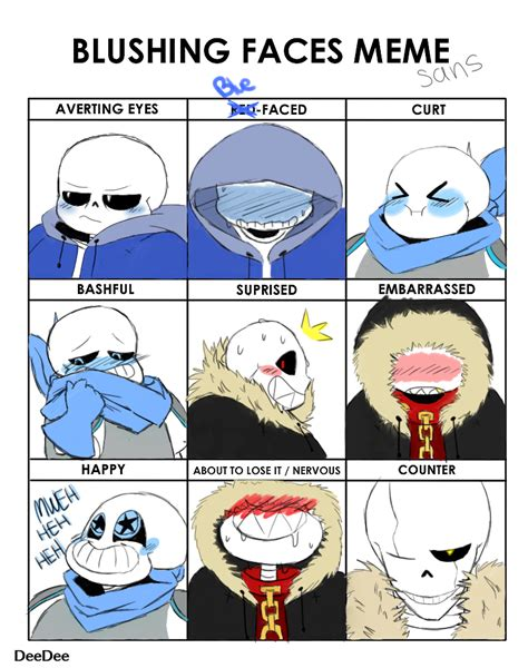 Sans Memes - blushing faces meme ft sans by hidanimmortal22 on deviantart