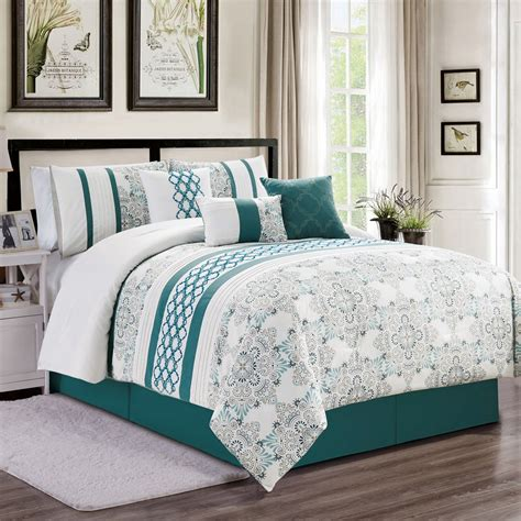 White Beds For Sale by 7 Kulbert Teal White Comforter Set