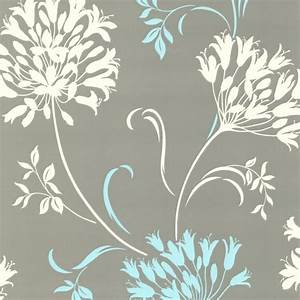 Nerida Light Gray Floral Silhouette Wallpaper ...