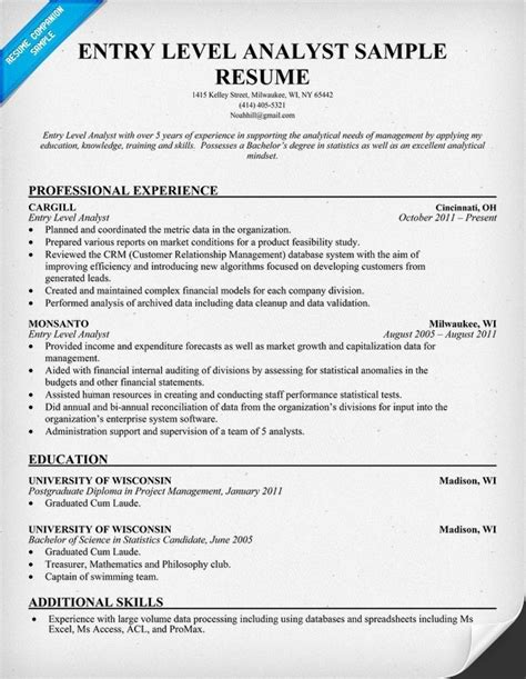 Entry Level Finance Resume by Entry Level Financial Analyst Resume Sle Jennywashere