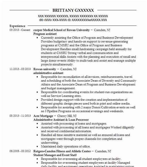 Resume Programs by Program Assistant Sles Resumes Livecareer