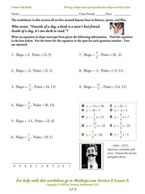 free math worksheets slope intercept form lf 5 writing a