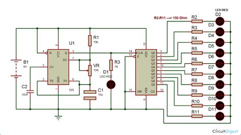 led chaser circuit diagram using ic 555 and 4017