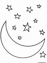 Moon Easy Drawing Coloring Stars Star Pages Sky Night Drawings Printable Paintingvalley sketch template