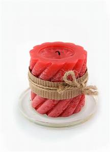 Red Candle On The White Background Stock Photo - Image of ...