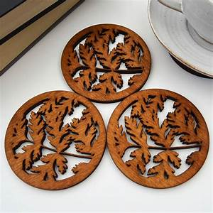 Wooden, Drinks, Coasters, With, Leaf, Design, Set, Of, Four, By, For, Me, U0026, For, You, Designs