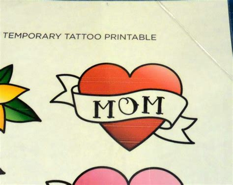 printable mothers day tattoo sheet