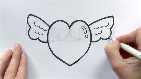 draw  cartoon love heart  wings  valentine