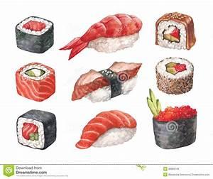 Delicious Sushi. Watercollor Illustrations Stock Photos ...