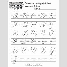 Kindergarten Cursive Handwriting Worksheet Printable  Language Arts  Cursive Writing