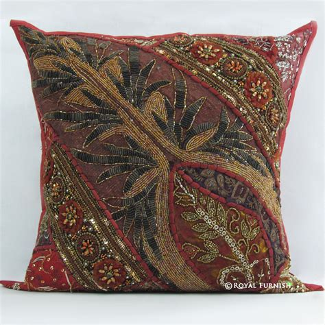 red indian beaded embroidered patchwork decorative throw