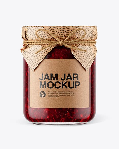 Present your design on this mockup. Glass Cranberry Jam Jar with Paper Cap Mockup in Jar ...