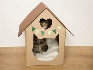 Jouets Pour Chats D Appartement : maison en carton d coupe chat et coeur pour animaux de ~ Melissatoandfro.com Idées de Décoration