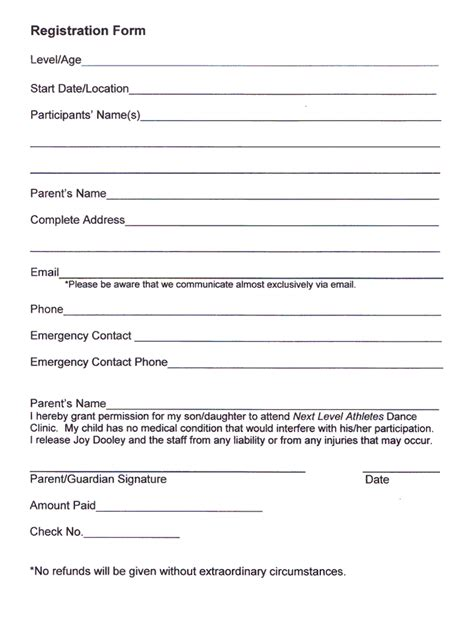 Next Level Athletes Dance Class Registration Form  How To