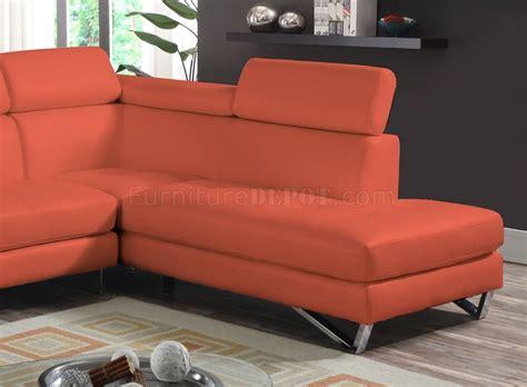 orange microfiber sofa 4026 sectional sofa in orange sateen microfiber fabric