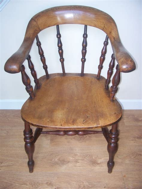19th Century Captains Desk Elbow Chair Smokers Bow