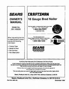 Craftsman 351183230 User Manual Brad Nailer Manuals And