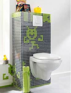 Carrelage Vert D Eau : d co wc cuvette suspendu bloc chasse eau en carrelage noir et vert ~ Melissatoandfro.com Idées de Décoration