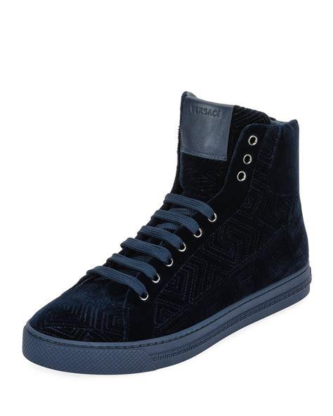versace mens greca velvet high top sneakers navy