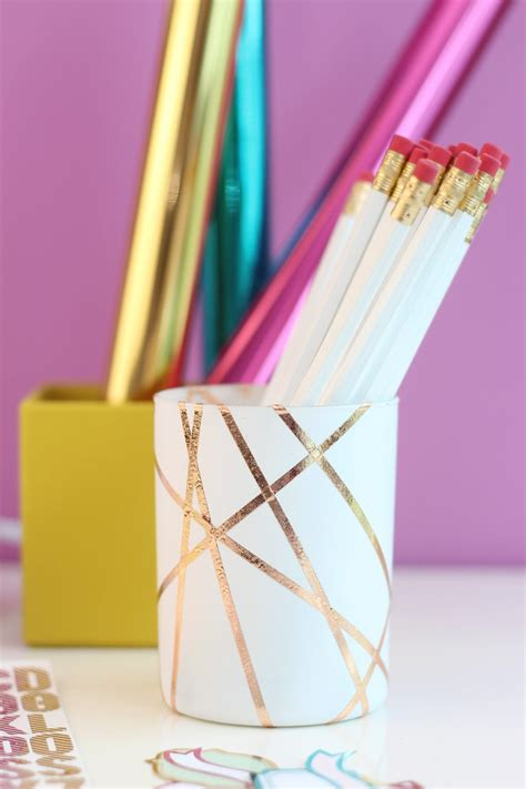 easy rose gold foiled pencil cup damask love