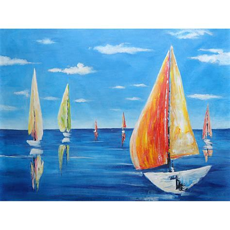 Sailboat Oil Painting by Hand Painted Sailboat Oil Painting 60 H X 90 W Cm