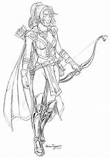 Ranger Woman Deviantart Elf Drawings Fantasy Warrior Archer Wood Adult Staino Arrow Coloring Pages Dungeons Dragon Character Wonder Female Sketch sketch template