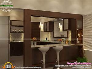 open kitchen living skylight area interior kerala home With interior design for open kitchen