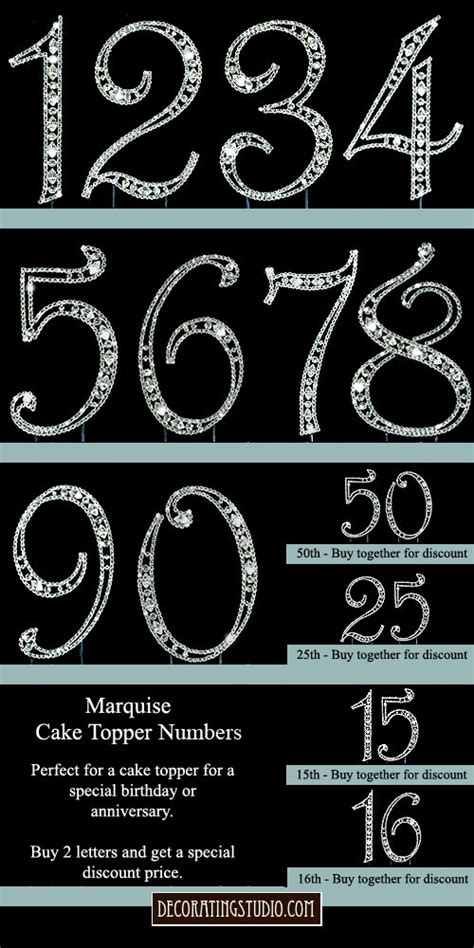 crystal marquise cut monogram cake topper numbers