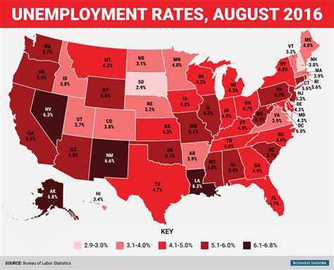 bureau of statistics united states august state unemployment rate map business insider
