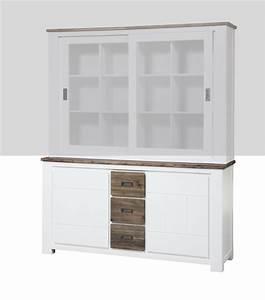 bahut 2 portes 3 tiroirs petit modele white horse blanc With wonderful meuble a chaussures en bois massif 12 tete de lit en bois massif