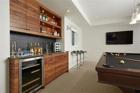 Game Room Wet Bar With Black Hex Tile Backsplash