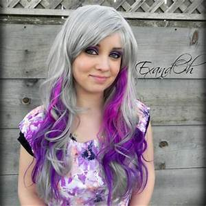 ON SALE Silver Purple Wig Long Curly from ExandOh on Etsy