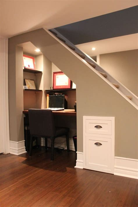 Small Home Office Spaces Under Stairs With Wall File