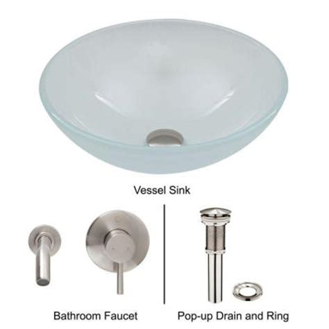 vigo vessel sink in white frost with wall mount faucet set