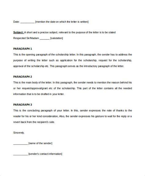 letter for scholarship scholarship letter template 11 free sle exle