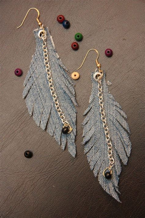 denim feather earrings     feather earring