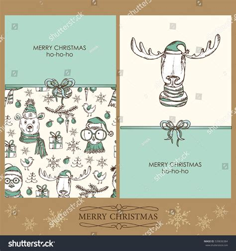 new year christmas christmas clothing sets elk vector set christmas and new year cards with elk owl