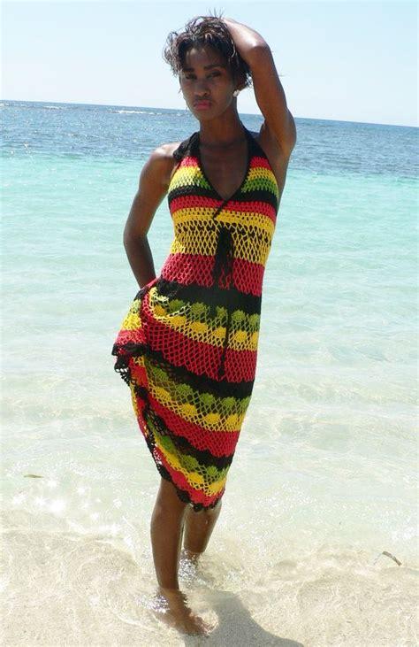 100 Cotton Handmade Crochet Jamaican Color Summer Dress