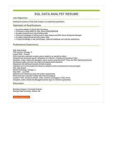 Sql Analyst Resume by Sql Data Analyst Resume Sle Best Format