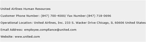 united airlines customer service phone united airlines human resources customer service phone