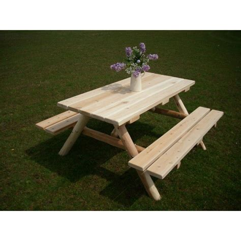 unfinished picnic tables for sale white cedar log picnic table with attached benches 4 5 6 8
