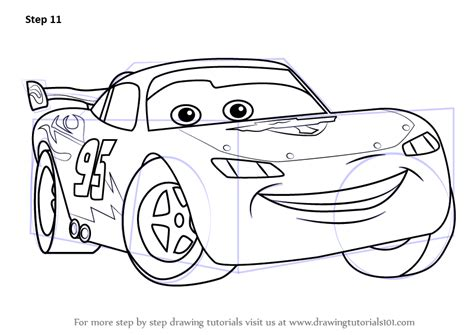 learn   draw lightning mcqueen  cars cars step