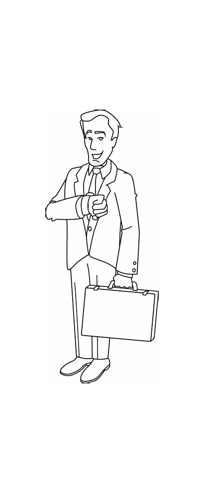 Businessman Coloring Clip Line Middle Sweetclipart