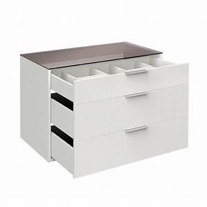 Tiroir Pour Dressing : bloc 3 tiroirs 100cm avec tablette verre facility blanc ~ Teatrodelosmanantiales.com Idées de Décoration